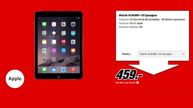Apple iPad Air 16GB WiFi + 4G © Media Markt