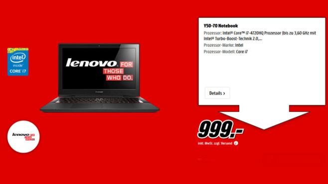 Lenovo Y50-70 ©Media Markt