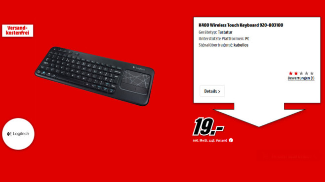 Logitech K400 Wireless Touch Tastatur DE © Media Markt