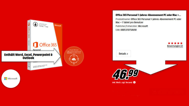 Microsoft Office 365 Personal (1 User) (Win/Mac) (DE) (PKC) © Media Markt