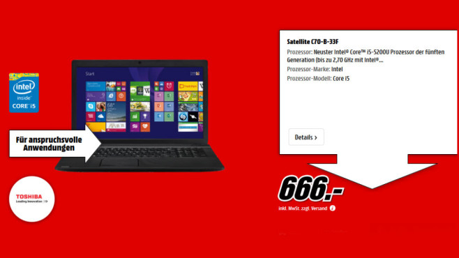 Toshiba Satellite C70-B-33F © Media Markt