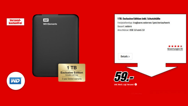 Western Digital Elements Portable 1TB (WDBUZG0010BBK) © Media Markt