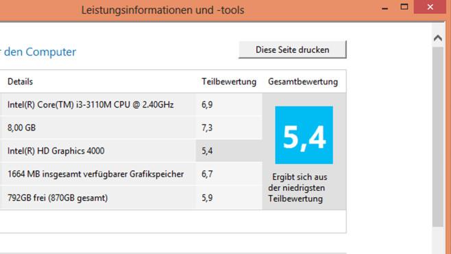 Druckfunktion des Leistungsindex ©COMPUTER BILD