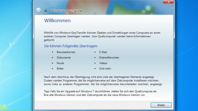 Windows-EasyTransfer ©COMPUTER BILD