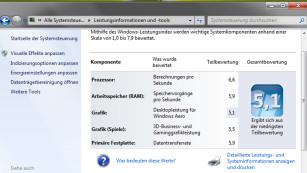 Vorsicht: Diese Funktionen verlieren Sie beim Umstieg auf Windows 10 Ein Anhaltspunkt dafür, wie modern Ihre PC-Komponenten sind: der Leistungsindex. ©COMPUTER BILD