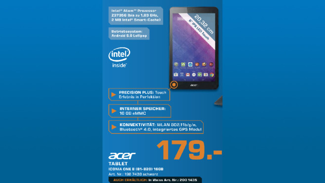 Acer Iconia One 8 B1-820 HD © Saturn