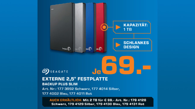 Seagate Backup Plus Portable Festplatte 1TB © Saturn