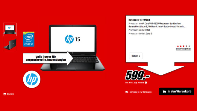 Hewlett-Packard HP 15-r273ng © Saturn