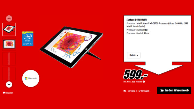 Microsoft Surface 3 64GB 2GB WiFi © Saturn