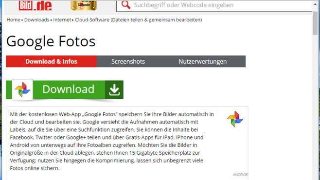 Google Fotos im Browser ©COMPUTER BILD