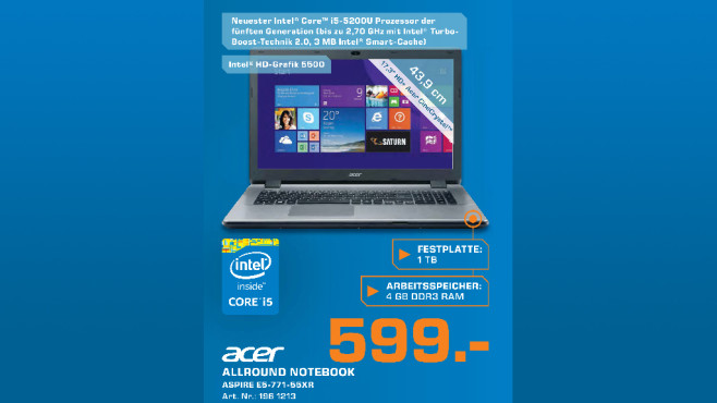 Acer Aspire E5-771-55XR © Saturn