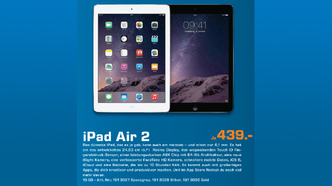 Apple iPad Air 2 16GB WiFi ©Saturn