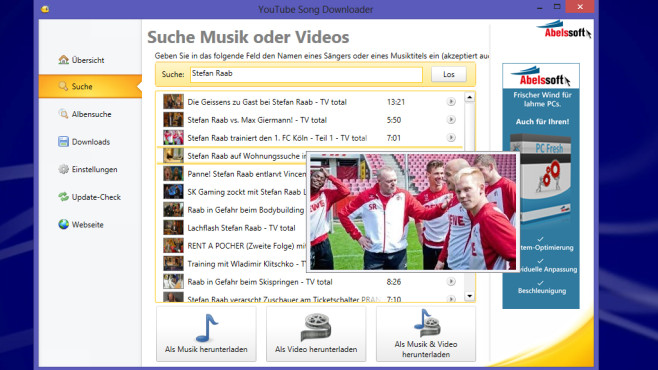 YouTube Song Downloader 2015: Filmfutter aufstöbern © COMPUTER BILD