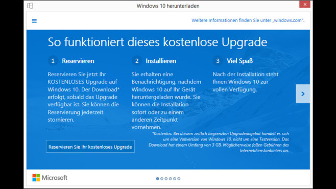 Windows 10 reservieren © COMPUTER BILD