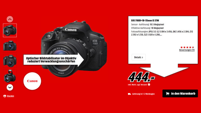 Canon EOS 700D Kit 18-55 mm Canon IS STM ©Saturn