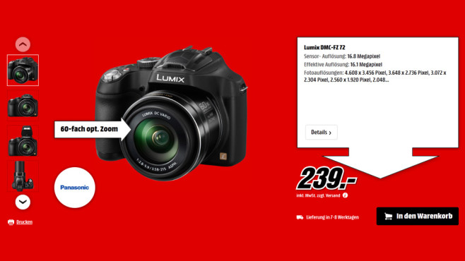 Panasonic Lumix DMC-FZ72 © Saturn