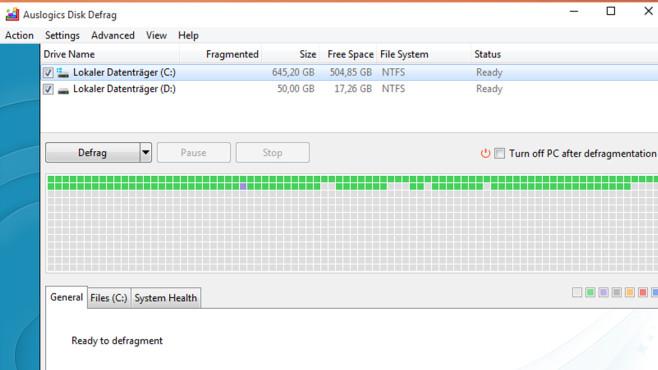 Auslogics Disk Defrag: Festplatte defragmentieren ©COMPUTER BILD