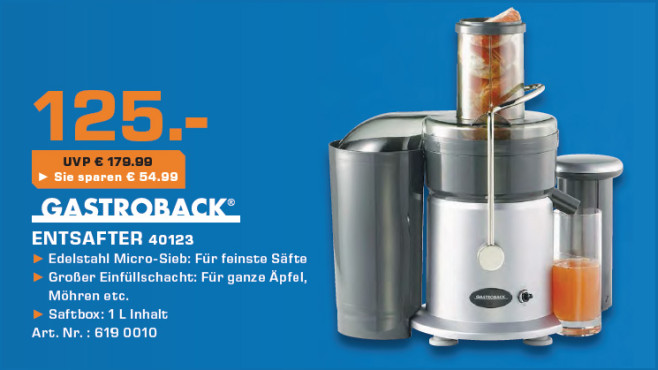 Gastroback Design Juicer (40123) © Saturn