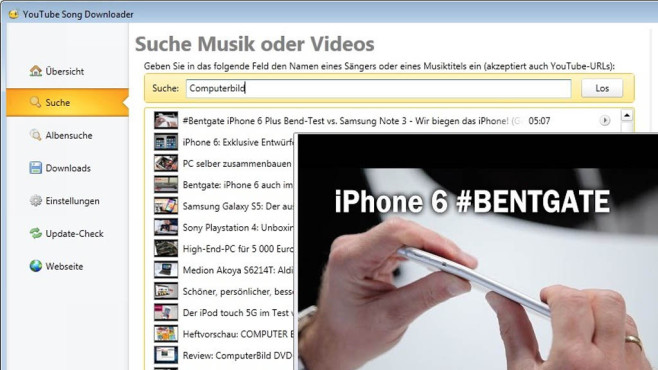 Platz 36: YouTube Song Downloader (neu) © COMPUTER BILD