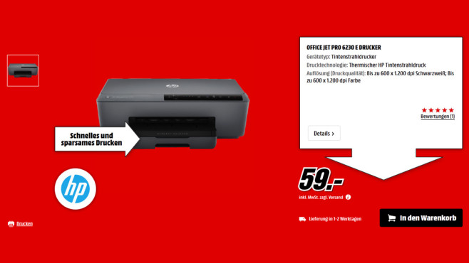 Hewlett-Packard HP Officejet Pro 6230 ePrinter (E3E03A) © Media Markt