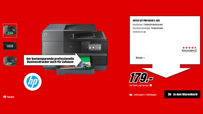 Hewlett-Packard HP Officejet Pro 8620 e-All-in-One (A7F65A) © Media Markt
