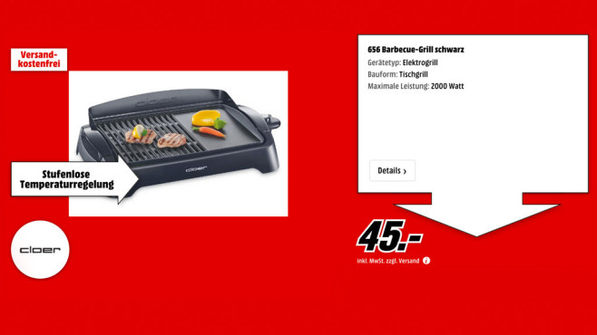 Cloer Barbecue-Grill 656 © Media Markt