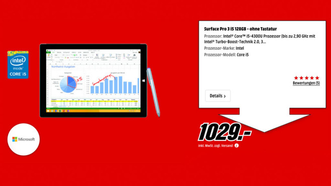 Microsoft Surface Pro 3 i5 128GB ©Media Markt
