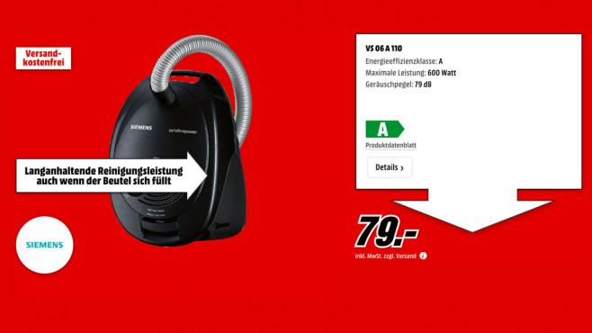 Siemens VS06A110 ©Media Markt