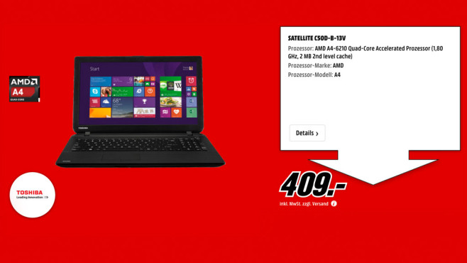 Toshiba Satellite C50D-B-13V © Media Markt