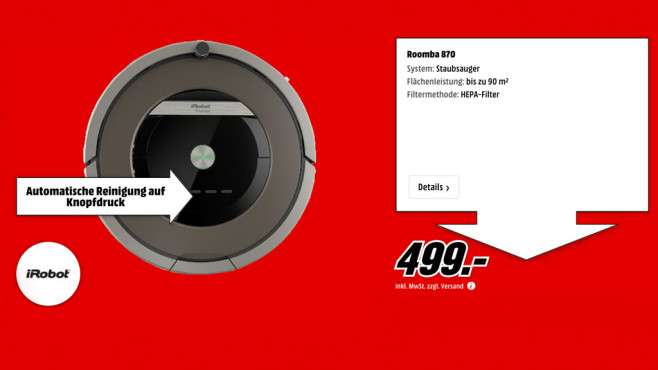 iRobot Roomba 870 ©Media Markt