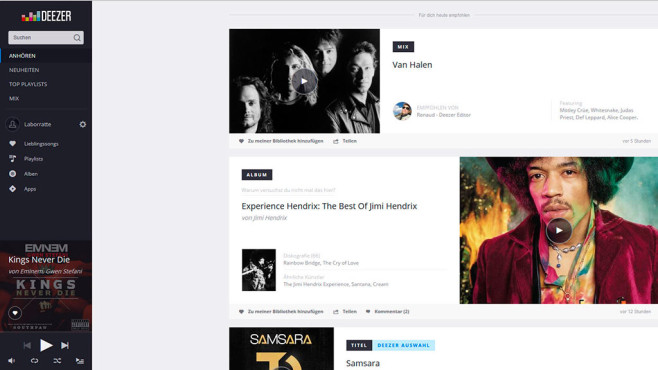 Platz 5: Deezer © Screenshot: Deezer