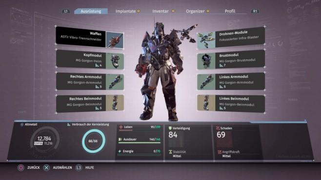 The Surge: Das Sci-Fi-Souls im Test Ihre Rüstüng und Waffen bauen Sie modular aus, für Sets gibt's Boni. Eine Drohne kommt ab Level zwei auch dazu. ©Koch Media
