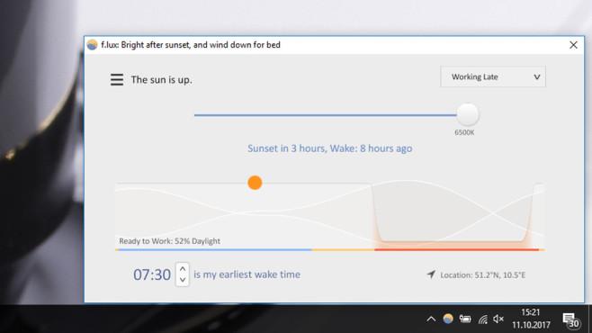 F.lux: Bildschirmhelligkeit automatisch anpassen ©COMPUTER BILD