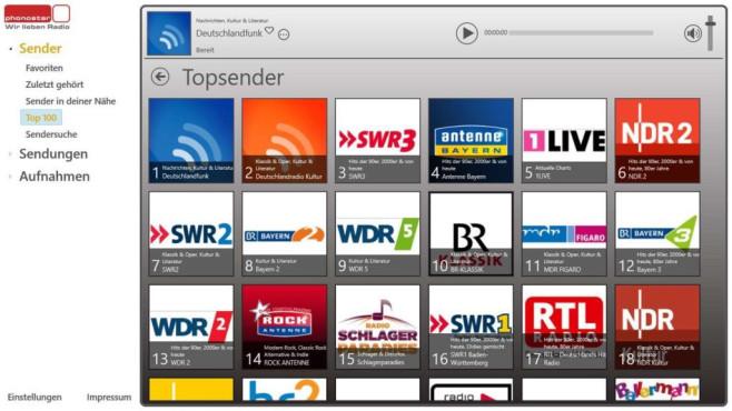 Phonostar Radio-App: Kachel-Pendant zu Desktop-Tool ©COMPUTER BILD