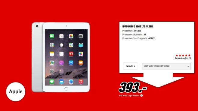 Apple iPad mini 3 16GB WiFi + 4G ©Media Markt