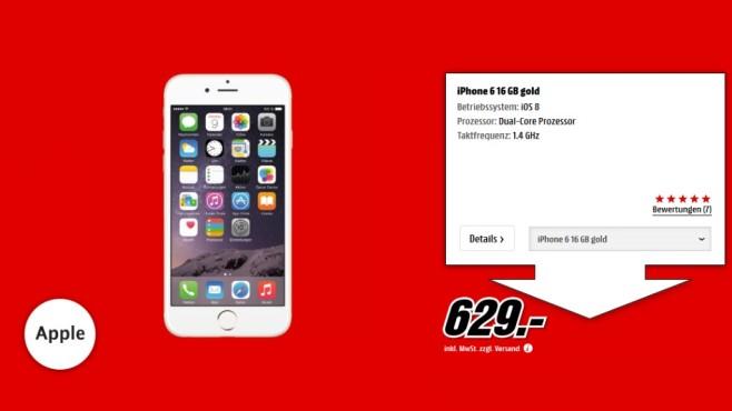 Apple iPhone 6 16GB Gold ©Media Markt