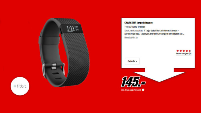 Fitbit Charge HR (L) ©Media Markt