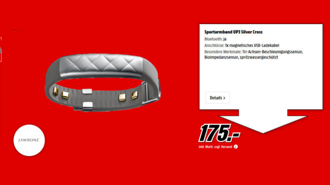 Jawbone UP3 silver cross © Media Markt