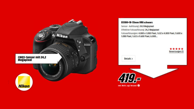Nikon D3300 Kit 18-55 mm Nikon G VR II © Media Markt