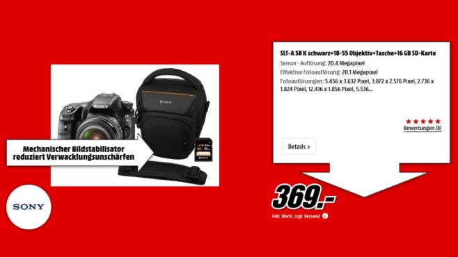 Sony Alpha 58 Kit 18-55 mm + Tasche + 16-GB-Speicherkarte © Media Markt