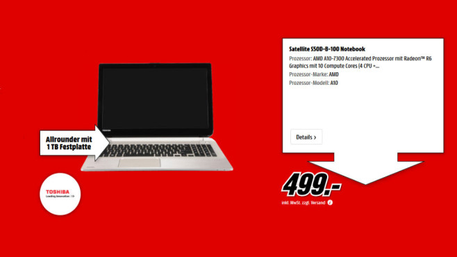 Toshiba Satellite S50D-B-100 © Media Markt