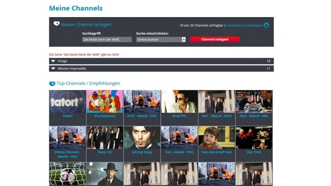 Serienchannel vs Stichwortchannel © Save.TV