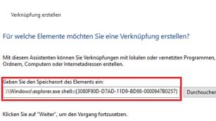 Windows 10: Fehlende Desktop-Kachel nachrüsten Über einen langen Befehl erzeugen Sie eine Verknüpfung, die alles minimiert – und das Startmenü ausblendet. ©COMPUTER BILD