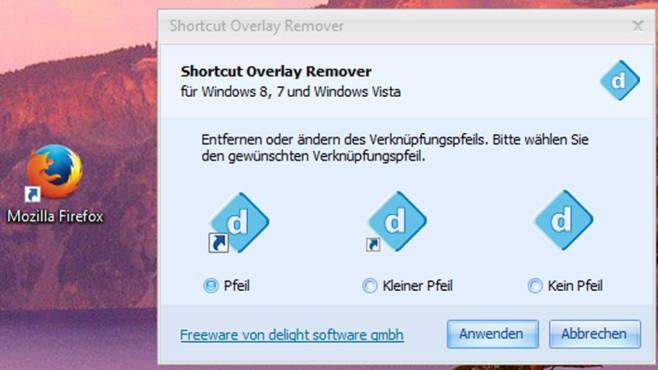 Shortcut Overlay Remover: Verknüpfungspfeile passend entfernen ©COMPUTER BILD