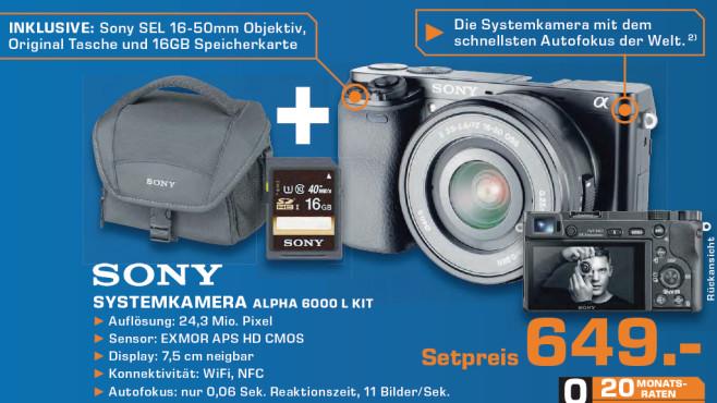 Sony Alpha 6000 Kit 16-50 mm + Tasche + Speicherkarte ©Saturn