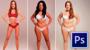 Photoshop-Experiment: So soll der ideale Frauen-Body aussehen! 18 Grafikerinnen aus aller Welt sollten das Foto einer Frau (links) entsprechend den Vorlieben ihrer Landsleute verändern – mit teils schrägen Ergebnissen. ©superdrug