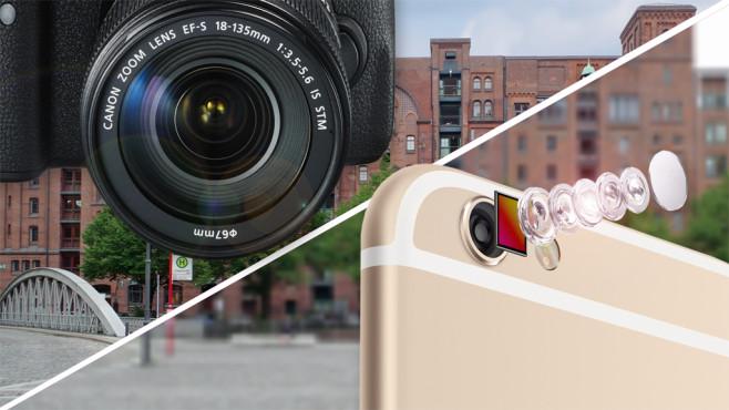 SLR vs. Handy ©Canon, Apple, COMPUTER BILD