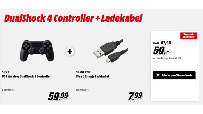 Sony DualShock 4 + Snakebyte PS4 Play & Charge Kabel ©Sony, Snakebyte