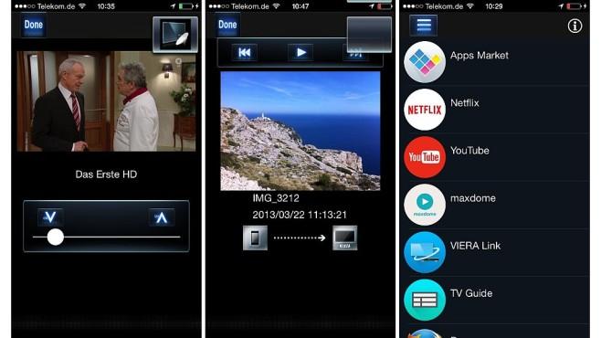 Panasonic CXW804: Ultra-HD-Fernseher mit Firefox im Test Der Panasonic CXW804 kann unabhängig vom laufenden TV-Programm ein anderes per WLAN auf ein Smartphone oder Tablet übertragen (links). Außerdem lassen sich vom Smartphone bequem Fotos auf den TV-Bildschirm schicken und Apps zum Start auf dem TV auswählen. ©COMPUTER BILD