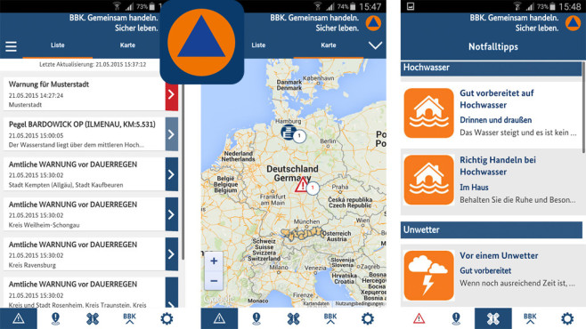 NINA – die Warn-App des BBK ©Bundesamt für Bevölkerungsschutz